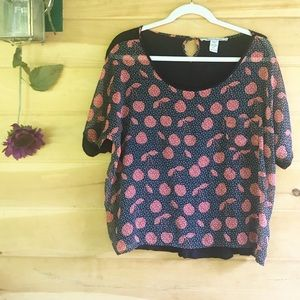 American Rag sheer front cherry 🍒 print blouse